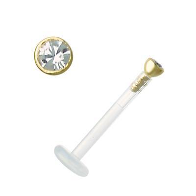 Piercing für Lippe/Tragus Bioplast Swarovski Kristall Gold 18K
