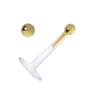 Piercing für Lippe/Tragus Bioplast Gold 18K