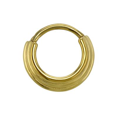 Septumpiercing Chirurgenstahl 316L PVD Beschichtung (goldfarbig) Streifen Rillen Linien
