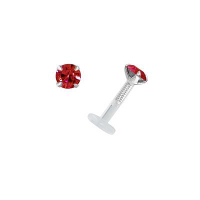 Piercing für Lippe/Tragus Bioplast Silber 925 Hochwertiger Kristall