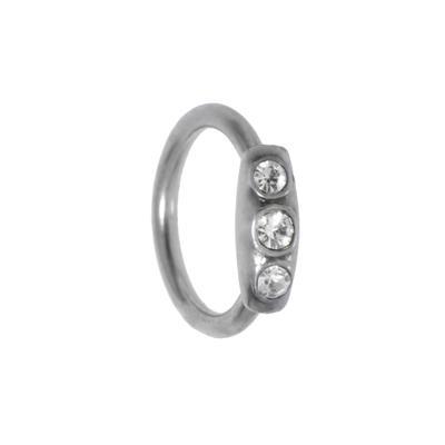 1.2mm Piercingstab Chirurgenstahl 316L Kristall Messing mit Silberbeschichtung