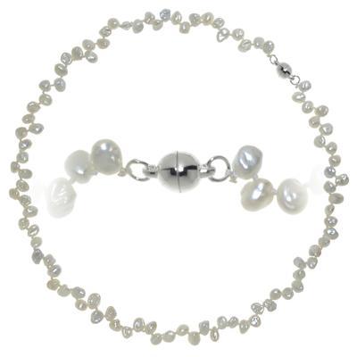 Chaîne de perles Perles d´eau douce Cuivre revêtu d´argent