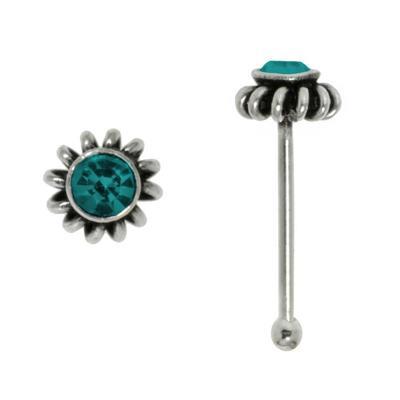Nasenpiercing Silber 925 Kristall Spirale Blume