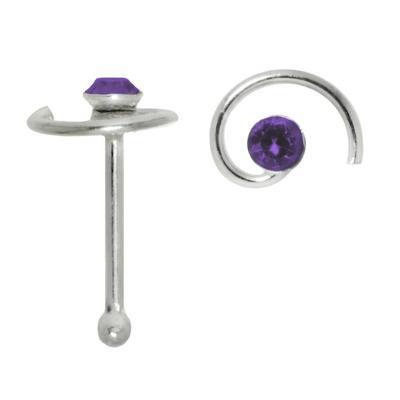 Nasenpiercing Silber 925 Kristall Spirale