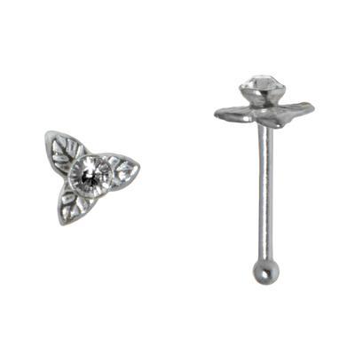 Nasenpiercing Silber 925 Kristall Blume Blatt Pflanzenmuster Florales_Muster