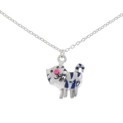 Kinder Halskette Silber 925 Email Katze Kater