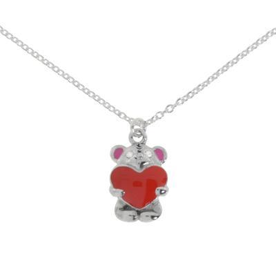 Kinder Halskette Silber 925 Kristall Email Bär Bärchen Teddy Herz Liebe