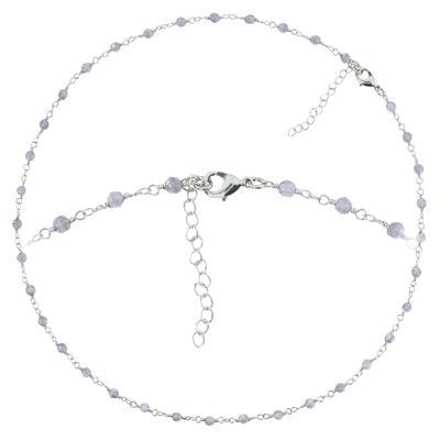 Perlen-Halskette Messing Blauer Mondstein