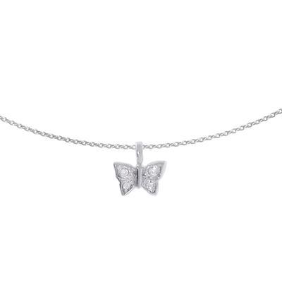 Halsschmuck Silber 925 Kristall Schmetterling Sommervogel