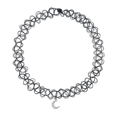 Halsschmuck Kunststoff Silber 925 Zirkonia Mond Halbmond