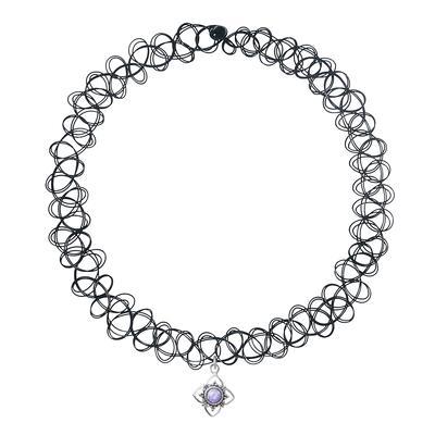 Halsschmuck Kunststoff Silber 925 Opal Blume