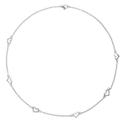Pendentif de chaîne Acier inoxydable Cristal Coeur C?ur Amour