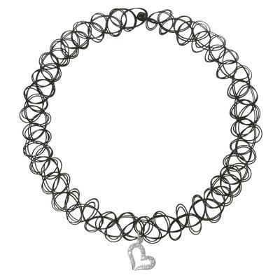 Halsschmuck Kunststoff Silber 925 Zirkonia Herz Liebe