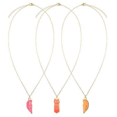 Kinder Halskette Edelstahl PVD Beschichtung (goldfarbig) Email Herz Liebe