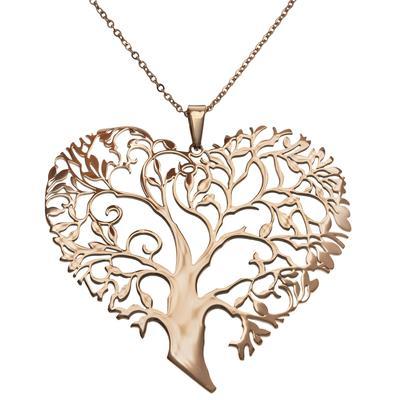 Halsschmuck Edelstahl PVD Beschichtung (goldfarbig) Herz Liebe Baum Baum_des_Lebens