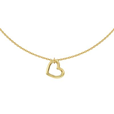 Pendentif de chaîne Argent 925 Revêtement d´or (doré) Coeur C?ur Amour