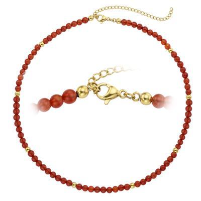 Steinkette Chirurgenstahl 316L PVD Beschichtung (goldfarbig) Achat