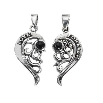 Silber-Anhänger Silber 925 Schwarzer Onyx Herz Liebe Love Liebe Ewig Schlaufe Endlos