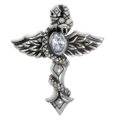 Silber-Anhänger Silber 925 Zirkonia Kreuz Flügel Schlange