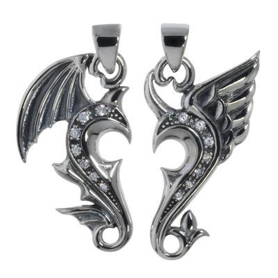 Silber-Anhänger Silber 925 Zirkonia Herz Liebe Flügel