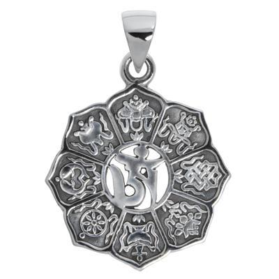 Silber-Anhänger Silber 925 Blume Om Aum Gott