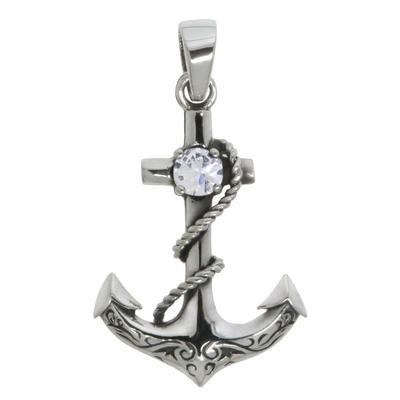 Silber-Anhänger Silber 925 Zirkonia Anker Seil Schiff