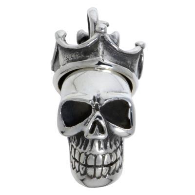 Silber-Anhänger Silber 925 Totenkopf Schädel Knochen Krone