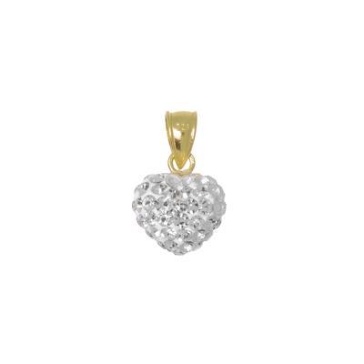 Pendentif de chaîne Argent 925 Cristal Revêtement d´or (doré) Coeur C?ur Amour