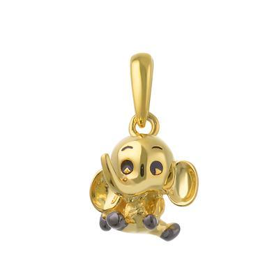Argento 925 Dorato Ganesha Elefante