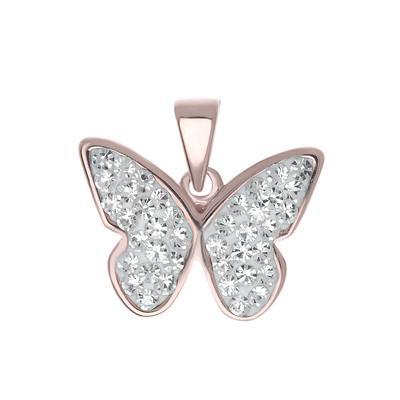 Pendentif de chaîne Argent 925 Cristal Revêtement PVD (couleur or) Papillon
