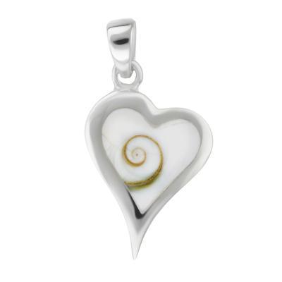 Pendentif en coquillage Argent 925 Coquillage Shiva Eye Coeur C?ur Amour Spirale