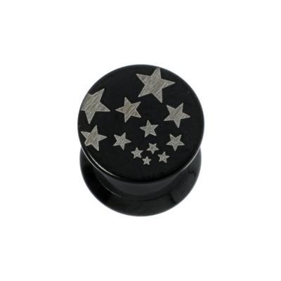 Plug Chirurgenstahl 316L PVD Beschichtung (schwarz) Stern