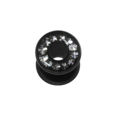 Tunnel Chirurgenstahl 316L PVD Beschichtung (schwarz) Swarovski Kristall Epoxiharz
