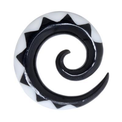 Plug Buffalo Horn Kunstharz Spirale Tribal_Zeichnung Tribal_Muster Dreieck