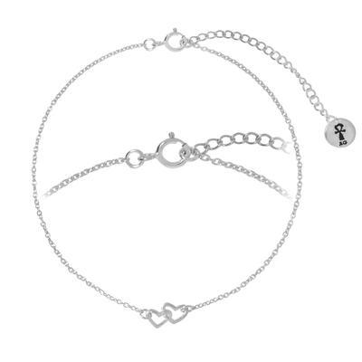 Bracelet fin Argent 925 Coeur C?ur Amour
