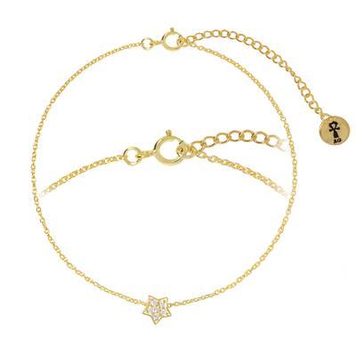 Silber-Armkettchen Silber 925 Gold-Beschichtung (vergoldet) Kristall Stern