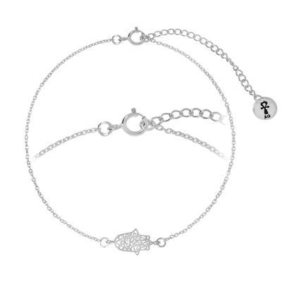 Bracelet fin Argent 925 Cristal Main Oeil Iris Pupille