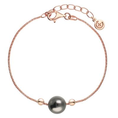 EraOra Silber-Armkettchen Silber 925 Synthetische Perle PVD Beschichtung (goldfarbig)