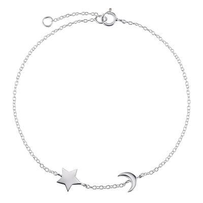 Bracelet fin Argent 925 Étoile Lune Demi_lune