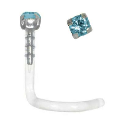 Nasenpiercing Bioplast Silber 925 Hochwertiger Kristall