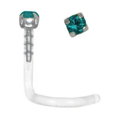 Nasenpiercing Bioplast Silber 925 Swarovski Kristall