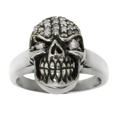 Fingerring Silber 925 Zirkonia Totenkopf Schädel Knochen