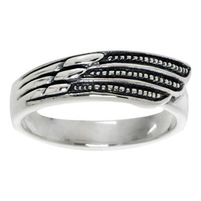 Fingerring Silber 925 Flügel Streifen Rillen Linien