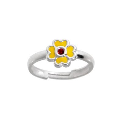 Kinder Ring Silber 925 Kristall Email Blume