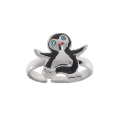 Kinder Ring Silber 925 Kristall Email Pinguin