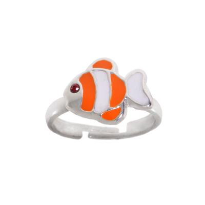 Kinder Ring Silber 925 Kristall Email Fisch