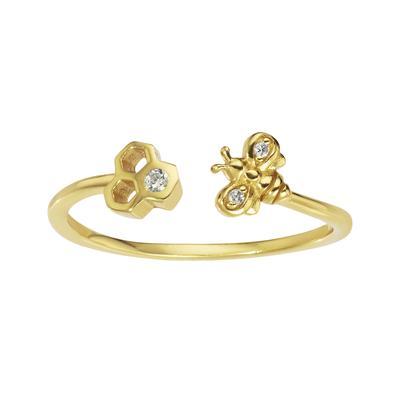 Fingerring Silber 925 Gold-Beschichtung (vergoldet) Zirkonia Tierfell Tiermuster Fellmuster