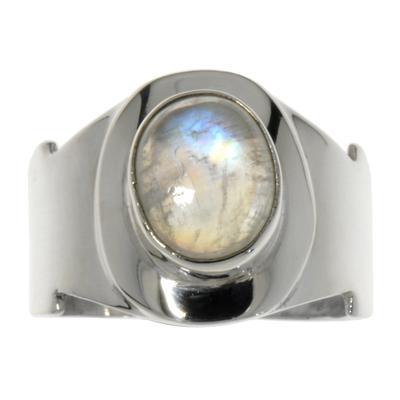 Fingerring Silber 925 Regenbogen Mondstein
