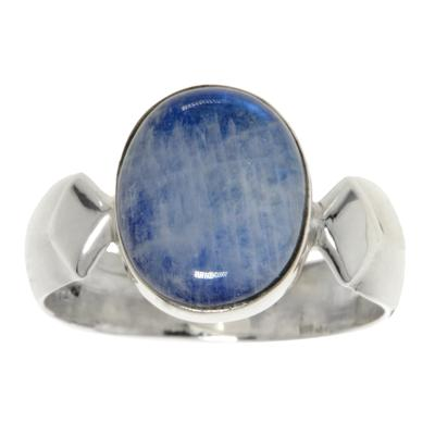 Fingerring Silber 925 Blauer Mondstein Streifen Rillen Linien Dreieck