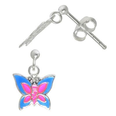 Kinder Ohrringe Silber 925 Email Schmetterling Sommervogel